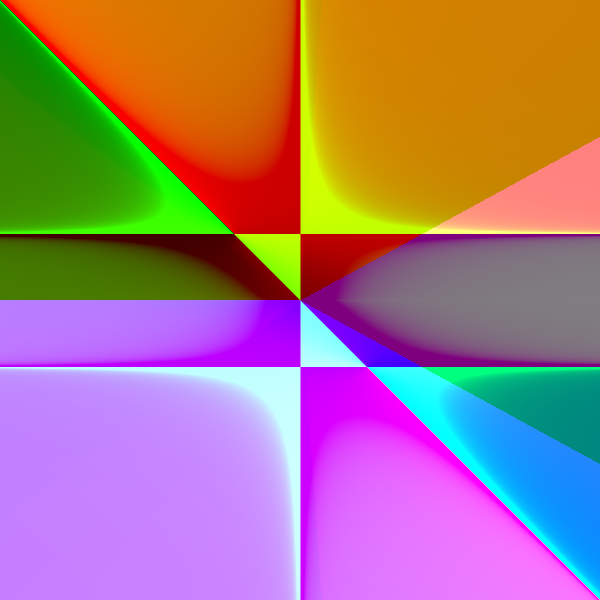 This example image contains around a dozen different geometric regions of color, with gradients outlining the boundaries.