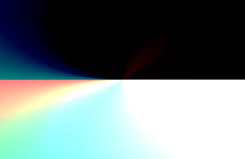 This example image contains a black top half with a white bottom half. There are subtle hints of color that flow from the left to the right.