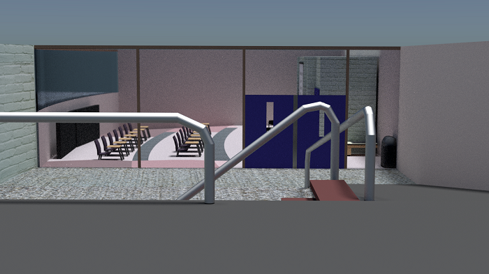 Render of the band room from the ramp looking towards the door.
