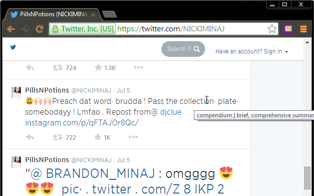 "Screenshot of Nicki Minaj's Twitter feed, with a small, hovering title box replacing the word ""collection"" with ""compendium""."