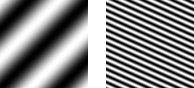 Two side-by-side images of tilted black and white stripe patterns.