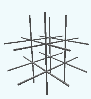 A three-dimensional, 3 by 3 by 3 grid.