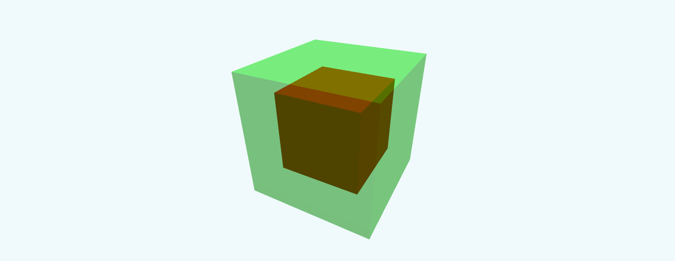 A small red cube inside a transparent green cube.