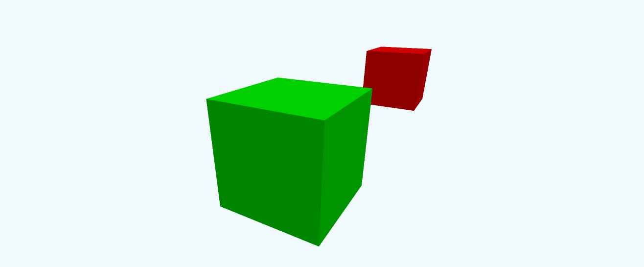 A large green cube and small red cube demonstrating perspective.