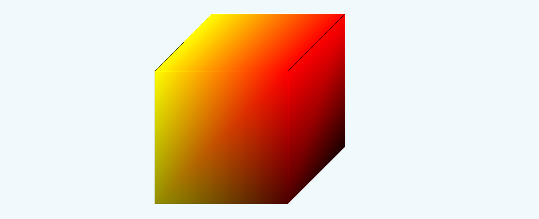 A cube that transitions from yellow to red smoothly left to right.